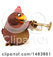 Poster, Art Print Of 3d Chubby Brown Chicken Playing A Trumpet On A White Background
