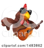 Poster, Art Print Of 3d Chubby Brown Chicken Holding A Guitar On A White Background