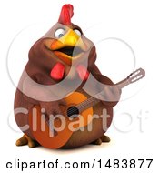 3d Chubby Brown Chicken On A White Background