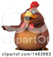 Clipart Of A 3d Chubby Brown Chicken Pointing On A White Background Royalty Free Illustration