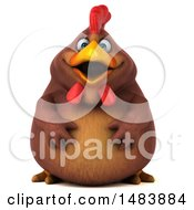 Clipart Of A 3d Chubby Brown Chicken On A White Background Royalty Free Illustration
