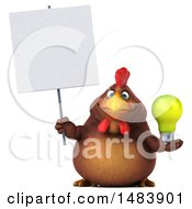 Poster, Art Print Of 3d Chubby Brown Chicken On A White Background