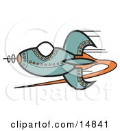 Blue Rocket With Orange Studs Flying Through Outer Space Clipart Illustration by Andy Nortnik
