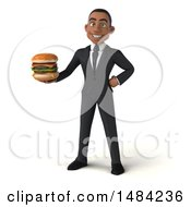 Poster, Art Print Of 3d Young Black Business Man Holding A Burger On A White Background