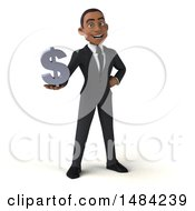 Clipart Of A 3d Young Black Business Man On A White Background Royalty Free Illustration by Julos