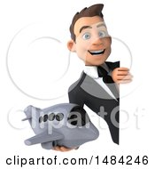 Poster, Art Print Of 3d Young White Business Man Holding A Plane On A White Background