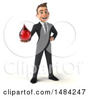 Clipart Of A 3d Young White Business Man Holding A Blood Drop On A White Background Royalty Free Illustration