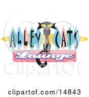 Slender Solid Black Cat Sitting In The Center Of Green Blue And Pink Diamonds On A Vintage Alley Cats Lounge Sign Clipart Illustration by Andy Nortnik