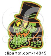 Grinning Human Skeleton Wearing A Hat Glasses And A Bowtie Clipart Illustration