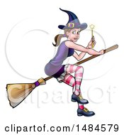Clipart Of A Witch Holding A Magic Wand And Flying On A Broomstick Royalty Free Vector Illustration