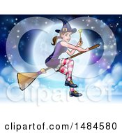 Witch Holding A Magic Wand And Flying On A Broomstick Over A Full Moon