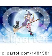 Clipart Of A Witch Holding A Magic Wand And Cat Flying On A Broomstick Over A Full Moon Royalty Free Vector Illustration by AtStockIllustration