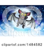 Clipart Of A Flying Vampire Bat Over A Full Moon Royalty Free Vector Illustration by AtStockIllustration