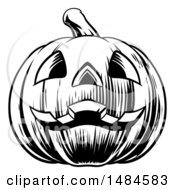 Clipart Of A Black And White Carved Halloween Jackolantern Pumpkin Royalty Free Vector Illustration