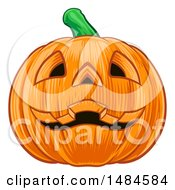 Clipart Of A Grinning Carved Halloween Jackolantern Pumpkin Royalty Free Vector Illustration