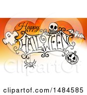 Clipart Of A Happy Halloween Greeting With A Ghost Skull Bat Jackolantern And Spider Over Gradient Orange Royalty Free Vector Illustration by AtStockIllustration