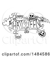 Clipart Of A Black And White Happy Halloween Greeting With A Ghost Skull Bat Jackolantern And Spider Royalty Free Vector Illustration by AtStockIllustration