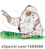 Clipart Of A Christmas Santa Claus Sitting At A Table And Pointing Royalty Free Vector Illustration by dero