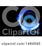 Clipart Of A Music Speaker With Blue Flames On A Black Background With Text Space Royalty Free Vector Illustration