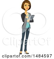 Clipart Of A Happy Business Woman Using A Tablet Computer Royalty Free Illustration
