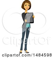 Clipart Of A Happy Business Woman Holding Out A Tablet Computer Royalty Free Illustration