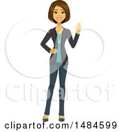 Clipart Of A Happy Friendly Business Woman Waving Royalty Free Illustration