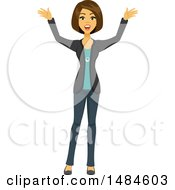 Clipart Of A Happy Excited Business Woman Royalty Free Illustration