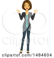 Clipart Of A Happy Business Woman With Her Eyes Closed Royalty Free Illustration
