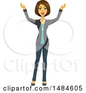 Clipart Of A Frustrated Business Woman Holding Her Arms Out Royalty Free Illustration