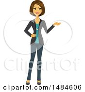 Clipart Of A Happy Business Woman Presenting Royalty Free Illustration by Amanda Kate