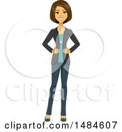 Happy Business Woman With Her Hands On Her Hips