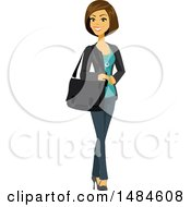 Clipart Of A Happy Business Woman With A Bag On Her Shoulder Royalty Free Illustration
