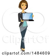 Happy Business Woman Holding A Laptop With A Blank Screen