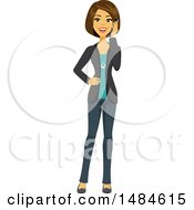 Clipart Of A Happy Business Woman Talking On A Cell Phone Royalty Free Illustration