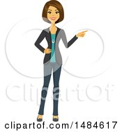 Happy Business Woman Pointing