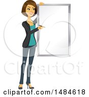 Clipart Of A Happy Business Woman Writing On A Presentation Board Royalty Free Illustration