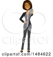 Happy Business Woman Holding Out A Cell Phone