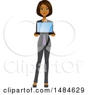 Clipart Of A Happy Business Woman Holding A Laptop Computer Royalty Free Illustration
