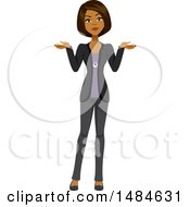 Clipart Of A Confused Business Woman Shrugging Royalty Free Illustration