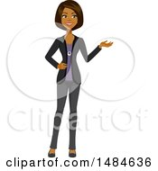 Clipart Of A Happy Business Woman Presenting Royalty Free Illustration