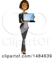 Poster, Art Print Of Happy Business Woman Holding A Laptop With A Blank Screen