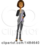Clipart Of A Happy Business Woman Holding A Smart Phone Royalty Free Illustration