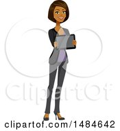 Clipart Of A Happy Business Woman Holding A Tablet Computer Royalty Free Illustration
