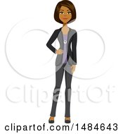 Clipart Of A Happy Business Woman With A Hand On Her Hip Royalty Free Illustration