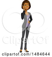 Clipart Of A Happy Business Woman Talking On A Smart Phone Royalty Free Illustration