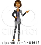 Clipart Of A Happy Business Woman Pointing Royalty Free Illustration