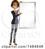 Happy Business Woman Writing On A Presentation Board