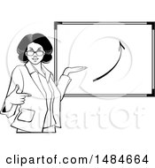 Clipart Of A Grayscale Hispanic Business Woman Pointing To And Presenting A Board With An Arrow Royalty Free Vector Illustration