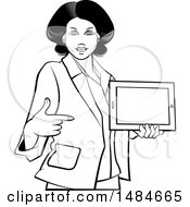 Clipart Of A Grayscale Hispanic Business Woman Holding And Pointing To A Tablet Computer Royalty Free Vector Illustration