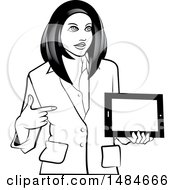 Grayscale Hispanic Business Woman Holding And Pointing To A Tablet Computer